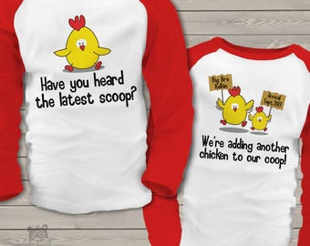 big brother to be shirt personalized spring chicken latest scoop pregnancy announcement RAGLAN shirt SNLE-041