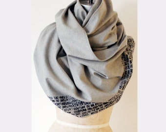 winter Sale, Gray Wool Scarf, Soft Wrap Shawl, Large Scarf, Unique , Fashion Design Scarf, Gifts