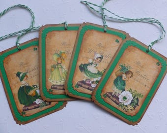 St. Patrick's Day tags gift tags vintage style Irish themed - set of 4