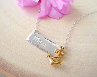Mom Anchor charm necklace, bar necklace, layering, mothers day, hand stamped, sterling silver, hammered, mommy jewelry, Otis B, custom made