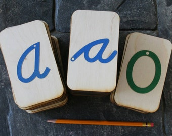 """Sandpaper Letters Cursive Set: Uppercase Cursive, Lowercase Cursive and Numbers 0-10 mounted on 3""""x5""""Birch Wood"""