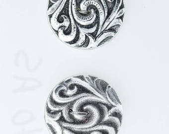 Button set of 4 , 2 hole , Plated plastic , Antique silver finish , sold 4 each OB9540AS
