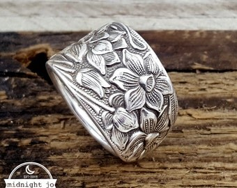 Spoon Ring Narcissus Daffodil Silver Plate Flatware Jewelry Flatware Spoon Ring