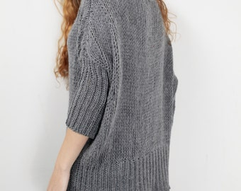 OVERSIZED Hand knit Woman sweater/ Knit sweater kimono sleeve grey pullover wool sweater