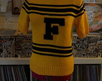 vintage black yellow stripe cheerleader knit top sweater short sleeves letter F varsity
