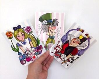 Alice in Wonderland - 3 Piece Postcard Set