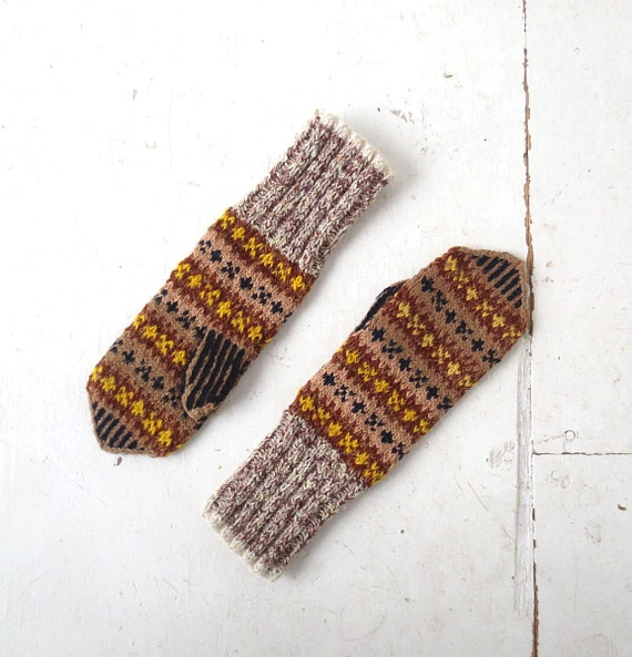 Vintage Norwegian Mittens | Wool Mittens | Scandinavian Mittens | M L