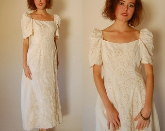 Beaded Wedding Dress Vintage Stunning + One of a Kind Cream Regal Beaded Floor Length Wedding Gown (s)