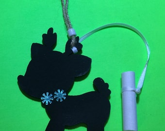 Reindeer Chalkboard Christmas Ornament Or Gift Tag