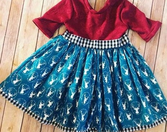 Penguins and Poinsettias Holiday Dress - Christmas Dress, Handmade Dress, Girls Holiday Dresses
