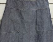 Dark Denim Jean skirt, Square Apron pockets, A-line, Customizable length, plus sizes, Custom Made to your Measurements and desired Fit.