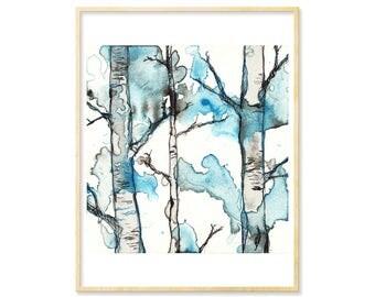 Forest Wall Art, Landscape Art, Watercolor Print, Landscape Print, Forest Nursery, Forest Print, Woodland Decor, Birch Illustration, 8.5x11