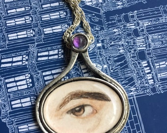 Hand-Painted Miniature Pendant Amethyst Accent Lover's Eye Necklace Original Painting Jane Austen