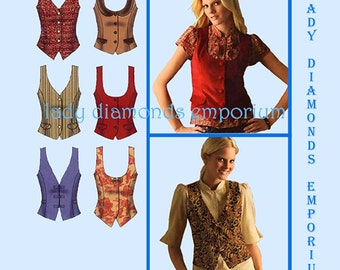 Simplicity 4079 Womens Princess Seam Lined Vests 6 Looks size 6 8 10 12 14 Bust 30 32 34 36 Easy Sewing Pattern Uncut FF