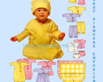 McCalls 4280 Infants Layette Gown Dress Top Pants Panties Hat Blanket size S M L XL Baby Shower Gifts Sewing Pattern M4280 Uncut FF
