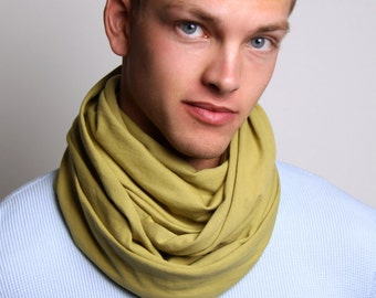 Green Scarf, Circle Scarf, Men's, Women's, Soft, Jersey Cotton