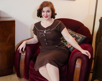 Vintage 1950s Dress - Sophisticated Chocolate Brown Rayon 50s Wiggle Dress with Sparkling Rhinestones, Bow Bust and Pockets