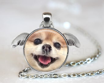 Pomeranian Pendant Necklace with Angel Wings - Pom Cuteness