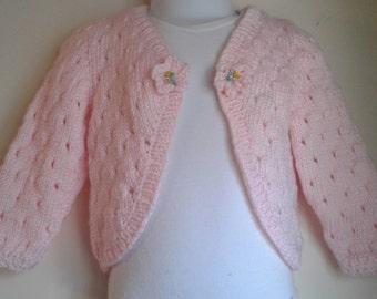 Handknit infant Lace Bolero sweater, soft powder pink yarn, Size 12-18 months