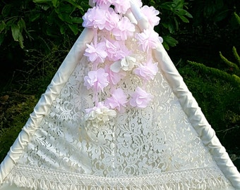 floral garland, flower garland, teepee topper, teepee - PINK GARLAND