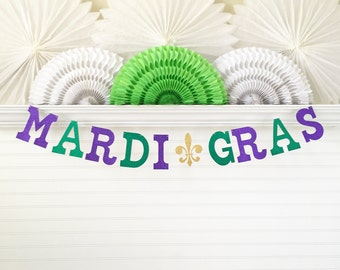 Glitter Mardi Gras Banner - 5 Inch Letters - Mardi Gras Birthday Party Decor New Orleans Party Banner Carnival Fat Tuesday Gold Fluer De Lis