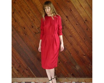 Woven Red l/s Shift Dress - Vintage 60s - S/M