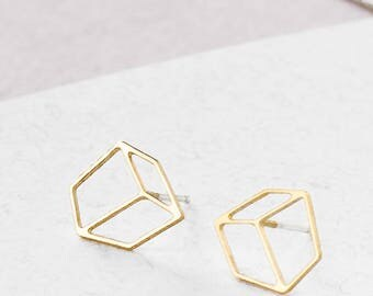 On Sale 20% Off Short Composition Post Earrings, Geometric earings, signature earings, Architectural jewelry