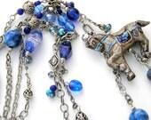 Antique Silver Horse Necklace, Blue LapisBeads