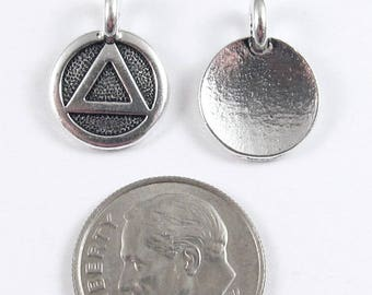 TierraCast Pewter Round Sobriety Charms-Silver Recovery Symbol 12x16mm (2)
