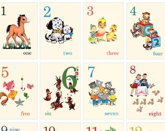 Digital | Print at Home | Counting from 1-15 Numbers Mini Flash Cards Vintage Retro Style