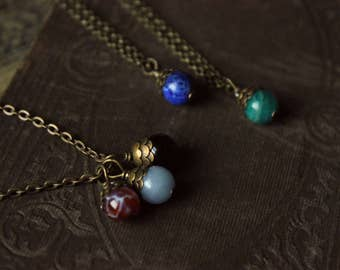 The Koi Pendant Necklace or Charm Bracelet. YOUR CHOICE. Bohemian Tattoo Inspired Fish Scale Gemstone & Antiqued Brass.