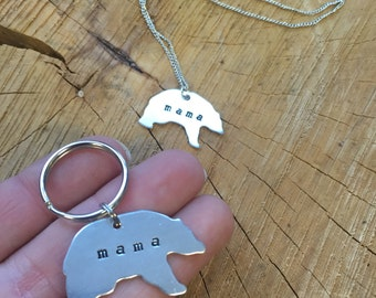 Mama Bear Pendant Necklace or Key Chain