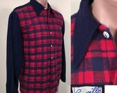 RESERVED Vintage 1940s/50s Red and Blue Plaid Flannel Two Tone Men's or Boys Shirt SZ 36