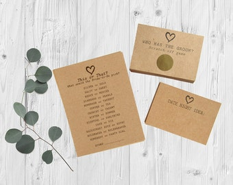 Bridal Shower Games - Package of 3 Games - Gold Wedding Games - Rustic Heart Theme - Scratch Off Game & Advice Card Set - Funny Shower Idea