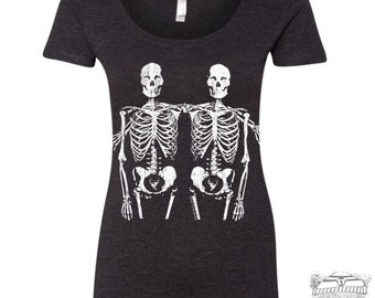 Womens SKELETONS Scoop Neck Tee - T Shirt s m l xl xxl  (+ Colors)
