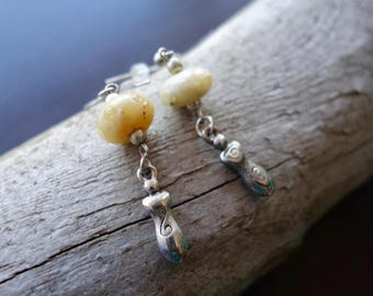 Woman Goddess Glass Bead Earrings | Cream Dangle with Silver Accents