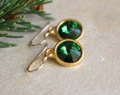 Green Crystal Rivoli Earrings, Green Swarovski earrings, Green and Gold Earrings, modern style, bridesmaid earrings, holiday earrings