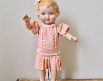 1920's vintage composite baby doll 12 inch blonde toddler girl peach drop waist dress molded hair moveable arms legs
