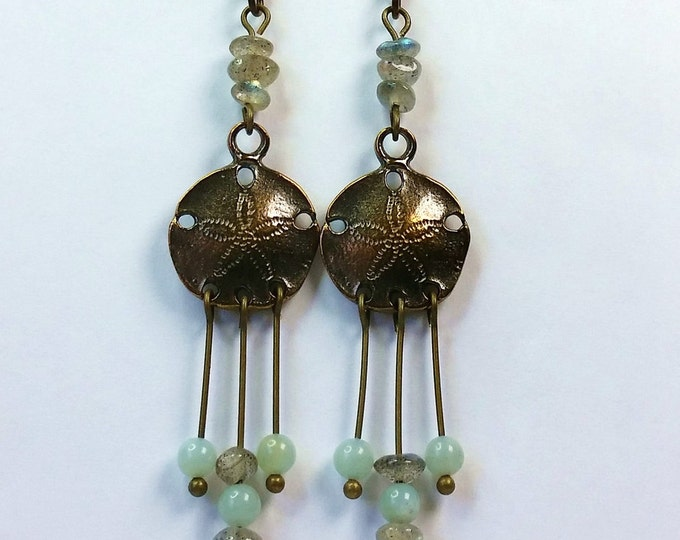 Antique Brass Sand Dollar Chandelier Earrings with Labradorite and Amazonite
