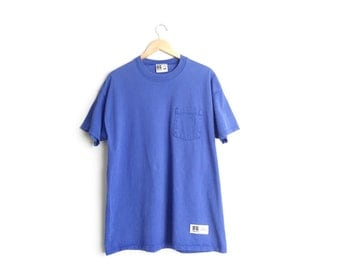 Size L // BLUE POCKET TEE // Purple-Blue - Short Sleeve T-Shirt - Russell Athletic - Vintage '90s.