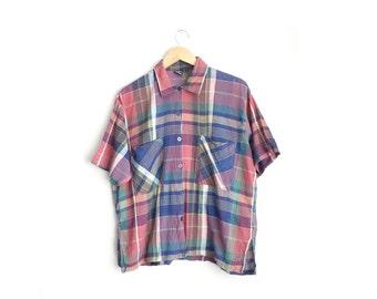 Size M/L/XL // PLAID SHIRT // Red & Blue - Short Sleeve - Collar - Oversized - Vintage '90s.