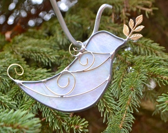 White  Dove with Olive Branch Stained Glass  Suncatcher Peace Symbol Baptism