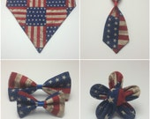 Pet Accessory - Rustic American Flag - Over-the-Collar - Custom - Bandana, Bow Tie, Neck Tie, Flower
