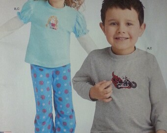 Out of Print Pattern  Simplicity 1052 Childs Knit Top and Flannel,Cotton Pants Pattern Childrens size 4-8