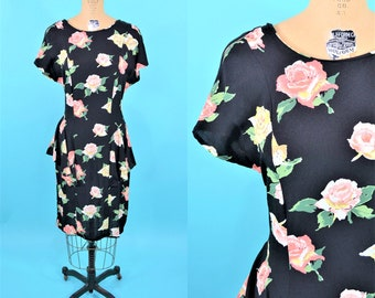 "1990s peplum dress | pink rose print 1940s style dress | vintage 90s dress | W 29"""