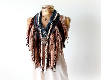 Cowgirl Scarf Rustic Western Boho Fringe Necklace Indian Head Penny Mori Girl Country Clothing Brown Tribal Scarf Bohemian Festival 'SAMMI'