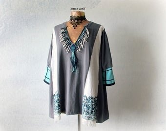 Plus Size Tunic Grey Tribal T-Shirt Boho Womens Top Loose Fitting Shirt V-Neck A-Line Up Cycled Clothing Gypsy Fringe Top Eco Wear 3X 'WANDA