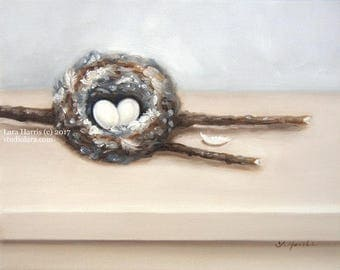 Hummingbird Nest Painting in OIL by LARA 8x10 Bird Feathers Eggs