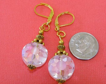 Clear White FROSTED Roundel Daisy Flower Gold Plated LEVERBACK Earrings