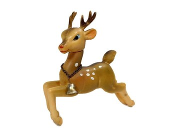 Vintage Rudolph Reindeer Rubber Christmas Deer Metal Bell Movable Head Made In Japan Mid Century Toy Holiday Decor Winter Spotted Deer Brown